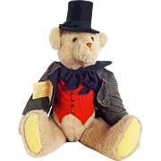 Vintage Large Collector's Teddy Bear Stuffed Animal in Top Hat and Victorian Costume - Clair's Bears / Judge Roy Teddy Bear