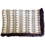 Vintage Brown and White Swedish Weave on Monk Cloth Huck Embroidery Blanket / Throw / Bedspread / Afghan