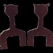 Vintage Folk Art Iron Cat Andirons Georgia