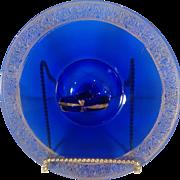 Cobalt blue depression ear tidbit tray