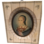Miniature Enameled Portrait – Renaissance Woman