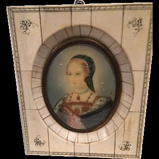 Miniature Enameled Portrait – Renaissance Woman