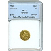 SUPER RARE 1889 $2.5 Liberty GOLD Proof! Only 48 Minted; 35 Known to Exist!
