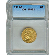 1911-S $5 Indian Gold Half Eagle MS-62 ICG