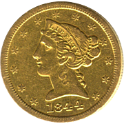 Very Scarce & Early Date 1844 O $5 Liberty Half Eagle GOLD Piece!