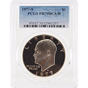 1977-S Ike Dollar Graded PR70 DCAM by PCGS! 1,800.00 Book Value!