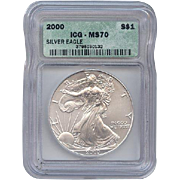 2000 ICG Perfect MS70 $1 SILVER Eagle!! $20,000 Book Value!