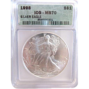 1998 Perfect ICG Graded MS70 $1 Silver Eagle!