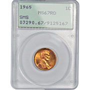 Rare 1965 Lincoln Cent! PCGS Graded MS67RD! 425.00 Book Value!