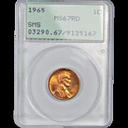 Rare 1965 Lincoln Cent! PCGS Graded MS67RD! 425.00 Book Value!