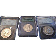 PCGS/ICG Collection - Three Franklin Half Silver Dollars!