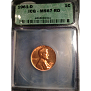 Rare Date 1961 D Lincoln Cent! ICG Graded MS67RD! 5,250.00 Book Value!