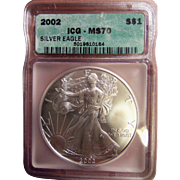 $1,550.00 Coin? 2002 ICG Perfect MS70 $1 Silver Eagle!!