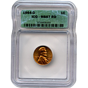 Rare Date 1964 D Lincoln Cent! ICG Graded MS67RD! 3,150.00 Book Value!