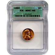 Rare Date 1963 Lincoln Cent! ICG Graded MS67RD! 2,150.00 Book Value!