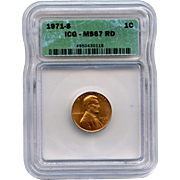 Rare Date 1971 S Lincoln Cent! ICG Graded MS67RD! 2,150.00 Book Value!