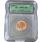 Rare Date 1971 D Lincoln Cent! ICG Graded MS67RD! 1,150.00 Book Value!