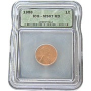 Rare Date 1958 Lincoln Cent! ICG Graded MS67RD! 1,100.00 Book Value!