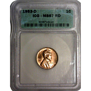 Rare Date 1953 D Lincoln Cent! ICG Graded MS67RD! 1,350.00 Book Value!