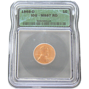 Rare Date 1968 D Lincoln Cent! ICG Graded MS67RD! 1,000.00 Book Value!