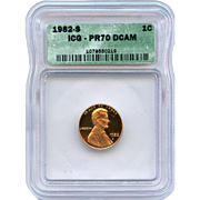 Rare Date 1982 S Lincoln Cent! ICG Graded PR70 DCAM! 2,150.00 Book Value!