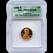 Rare Date 1982 S Lincoln Cent! ICG Graded PR70 DCAM! 2,150.00 Book Value!