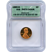 Rare Date 1980 S Lincoln Cent! ICG Graded PR70 DCAM! 2,250.00 Book Value!