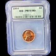 Rare Date 1964 Lincoln Cent! ICG Graded PR70RD! 1,800.00 Book Value!