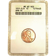 None Graded Higher - 1951-D/D RPM 14 Lincoln Cent!  ANACS MS65RED!
