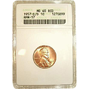 1 of only 6! - 1957-D/D RPM 17 Lincoln Cent - ANACS MS65Red