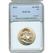 High Grade 1962 D Franklin Half Silver Dollar! Graded MS66 FBL!