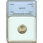 High Grade 1944 S Mercury Silver Dime! Graded MS68 FB!