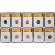 Collection of Ten (10) Lincoln Cents 1950D to 1959D! All Graded MS68!!