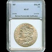 Very High Grade Rare Date 1887 Morgan Silver Dollar! Graded MS67!!