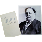President William Howard Taft - Typed Signed Letter on White House Letterhead as President.