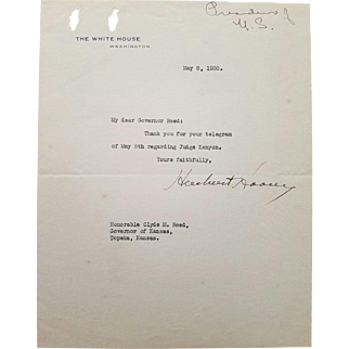 Herbert Hoover - Typed Letter Signed on White House Letterhead as President.