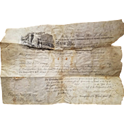President James Monroe Signed Land Grant Document 1812.