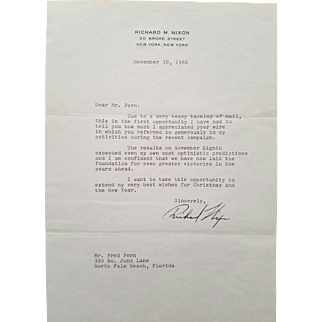 President Richard Nixon Typed Letter Signed Autograph!