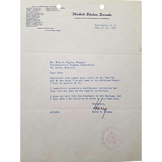 President Harry S. Truman Typed Letter Signed with COA!