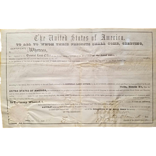 President Millard Fillmore Signed Land Grant Document!