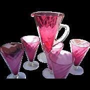 Rare vfintage delicate 6 piece lemonade set in waterrmellon color all pieces footed