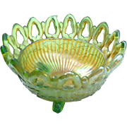 Vintage 3 footed orange green with lariat rim carnival glass bowl