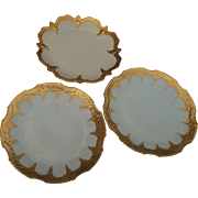 Three Limoges  10 inch plates hand painted gold. circa 1910