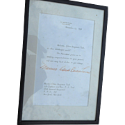 Signed letter from white house by Mamie Eisnhower November 5 1958 matted and framed