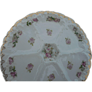 Circa 1910 6 well  8 1/2 oyster plate with petite roses