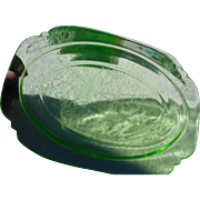Vintage green depression era glass by Jeanette Glass co. 11 1/2 inch platter