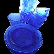 7 Depression era Hazel Atlas cobalt royal lace cup and saucers