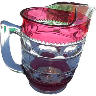 Vintage glass by Fjffin glass co in ruby kings crown pattern quite heavy