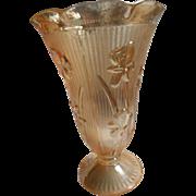 Depression era Jeanette glass marigold herringbone 9 inch footed vase