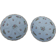 2  Austrian Antique Oyster Plates made in Austria by o and e ruby 8 1/2 inch floral design